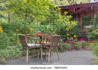 Kaleden, British Columbia/Canada - August 13, 2016: one of the beautiful garden patio tables at Linden Gardens, a popular Okanagan destination for weddings and tourism.