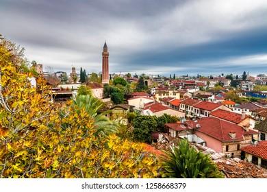 Kaleici district and Yivli Minaret view in Antalya