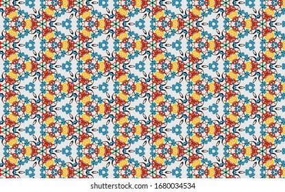 Kaleidoscope color pattern. Geometric Gold & gray watercolor background. Repeat urban texture with watercolour elements. Modern wallpaper.
