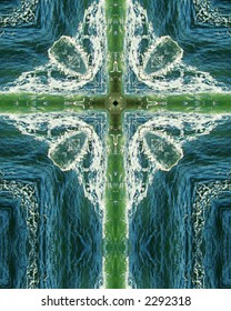 kaleidoscope cross:  green wave2, Oregon coast