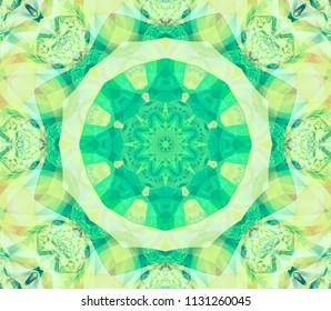 Kaleidoscope green flower. Illustration for design.