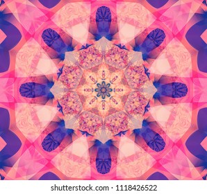 Kaleidoscope multicolored flower. Illustration for design. Seamless pattern.