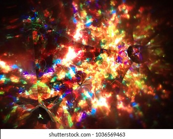 Kaleidoscope / A kaleidoscope is an optical instrument with two or more reflecting surfaces tilted to each other in an angle, so that one or more object on one end of the mirrors are seen as a regular