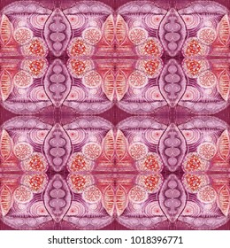 Kaleidoscopic abstract tribal seamless pattern. Modern stylish texture. Repeating geometric tiles. Textile fabric print. Wrapping paper.