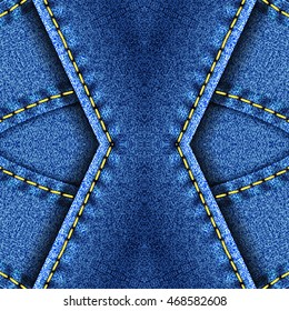 Kaleidoscopic blue denim with yellow thread pattern for design and background