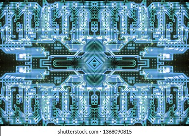 Kaleidoscopic circuit board background