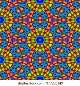 Kaleidoscopic decorative floral fractal tiles in modern arabian style - digitally rendered pattern