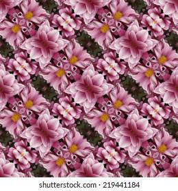Kaleidoscopic floral seamless generated texture