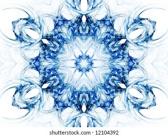 Kaleidoscopic image that resembles a mandala, chakra or abstract flower.