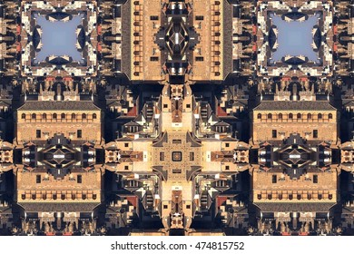 Kaleidoscopic photograph of buildings in the city of Toledo, Spain, creative photography with geometric patterns, symmetry, symmetrical,