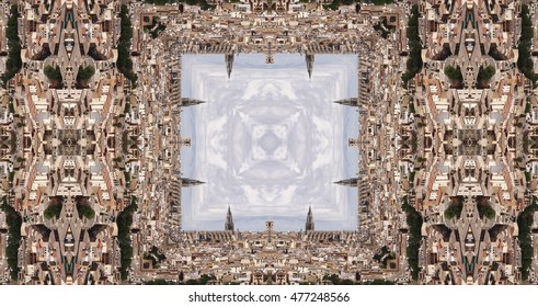 kaleidoscopic photograph of buildings in the city of Toledo, Spain, creative photography with geometric patterns, symmetry and symmetry,