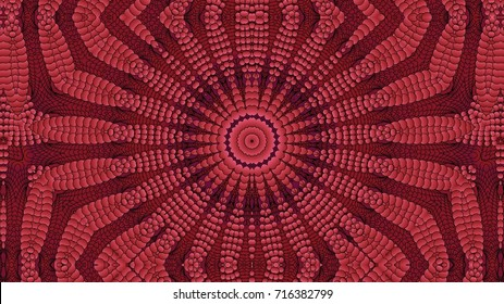 Kaleidoscopic red pattern is computer graphics and it can be used in the design of textiles, in the printing industry, in a variety of design projects