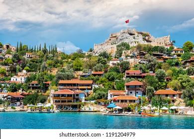 Kalekoy, Turkey - September 11, 2018 : Kalekoy view in Kekova Gulf. Kekova is populer tourist destination in Turkey.