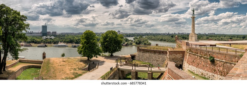 Kalemegdan fortress and Victor monument Belgrade, Usce Sava and Danube confluence view at cloudy summer day