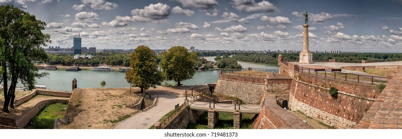 Kalemegdan fortress and Victor monument Belgrade, Usce Sava and Danube confluence view at sunny summer day