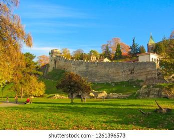 Kalemegdan fortress - View from a Belgrade urban neighborhood Dorćol.