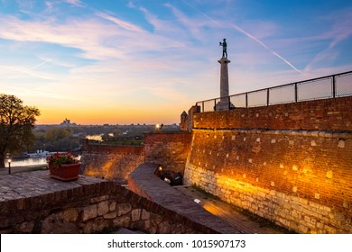 Kalemegdan fortress,Victor the monument and Sava river in evening colors