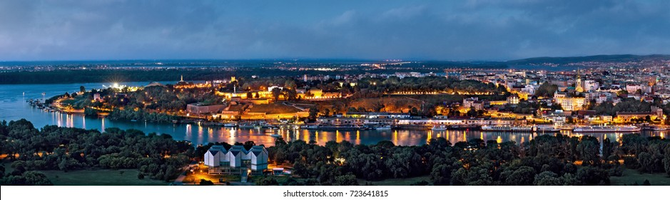 Kalemegdan old Belgrade Cathedral Sava river by night panorama