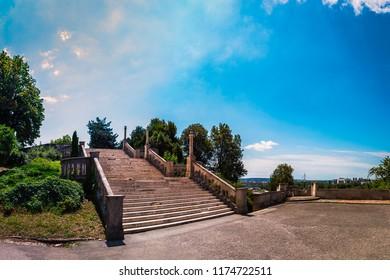 Kalemegdan Park and Fortress, Great Stars of Kalemegdan Park leeding to the Sava Promenade, Belgrade, Serbia