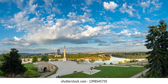 Kalemegdan and Victor in the morning sun. A great overview of river Sava and new Belgrade from the Kalemegdan.