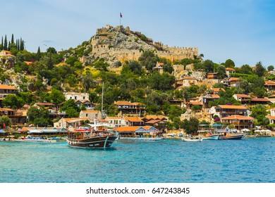 Kalesi, Turkey, May 16, 2017. Beautiful panoramic view on island Kekova and the castle Simena on top of hill