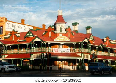 KALGOORLIE, AUSTRALIA - February 26, 2018: The Exchange Hotel is a historic landmark built in 1900 & listed on the  State Heritage Register