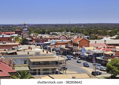 KALGOORLIE, AUSTRALIA -JAN 14: Areial view of the main avenue of the city of Kalgoorlie in Western Australia, 14/01/2016