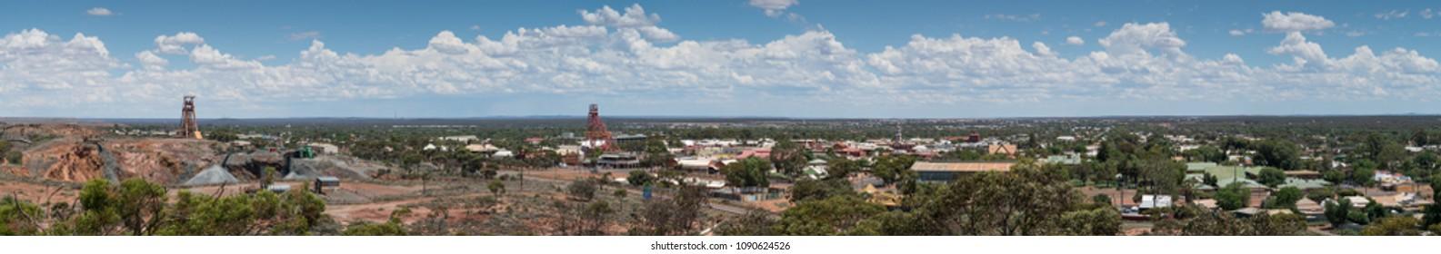 KALGOORLIE, AUSTRALIA - JANUARY 27, 2018: Panorama of the city of Kalgoorlie on January 27, 2018 in Western Australia