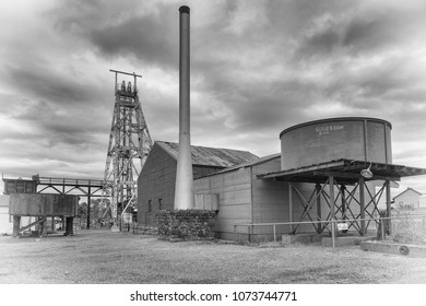 KALGOORLIE, AUSTRALIA - JANUARY 28, 2018: Pit frame and plant of an old gold mine in Kalgoorlie on January 28, 2018 in Western Australia