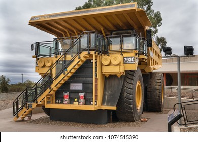 KALGOORLIE, AUSTRALIA - JANUARY 28, 2018: Caterpillar 793C Haul Truck, one of the biggest machineries for the mining industry on January 28, 2018 in Western Australia
