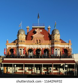 Kalgoorlie / Australia - Sep 26 2016: Beautiful old hotel built during the gold rush in Western Australia in the evening sun