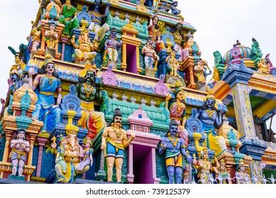 Kali Amman Temple in Negombo, Sri lanka. Detailed view on the vibrant colorful statues of hindu gods on a hindu temple Negombo, near Colombo in Sri Lanka.