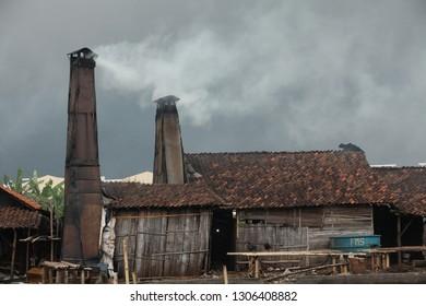 Kali Asin  Semarang, a slump area ruin village waste trash old aged house houses outdoor building travel