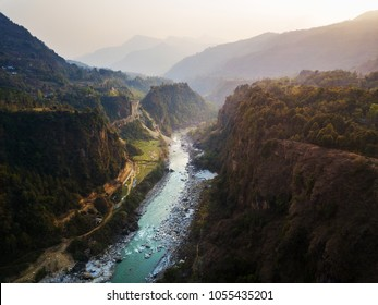 Kali Gandaki river and its deep gorge near Kusma in Nepal