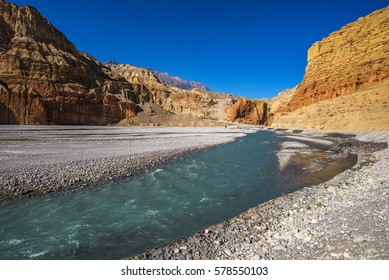 Kali Gandaki riverbed and village of Tsele, Mustang, Nepal