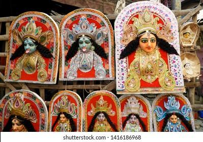 Kali god idol making at kumortuli kolkata.