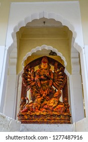 Kali God Statue at Mehrangarh Fort in Jodhpur, India. Kali earliest appearance is that of a destroyer of evil forces.