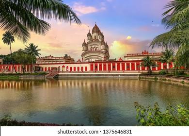 Kali temple at Kolkata Dakshineshwar with scenic landscape at sunset