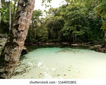 Kalibiru lake at angopi beach biak papua