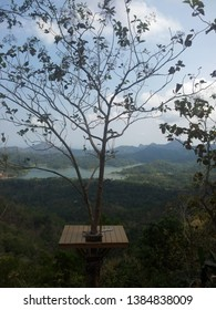 Kalibiru,beautiful tourism object located in Kulon Progo Yogyakarta, photo spot on treehouse with forest and the lake at background