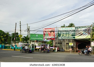Kalibo, Philippines - Dec 16, 2015. Traffic on street at downtown in Kalibo, Philippines.