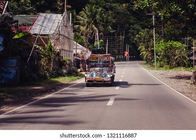 Kalibo, Philippines - January 13, 2016: a modified bus on a road in Kalibo, Philippines.