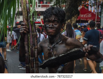 Kalibo, Philippines, January 14 2017: a man painted in black color during the Ati-atihan festival