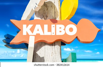 Kalibo welcome sign with beach background