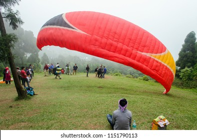 Kalimpong, West Bengal, India Date-21.05.2017 Paragliding can be done at Delo Park, Kalimpong, West Bengal. The views are beautiful from the take off place.