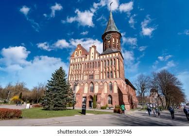 KALININGRAD - APR 17: Cathedral or Konigsberg Cathedral in Kaliningrad on Kant Island on April 17. 2019 in Russia