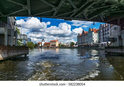Kaliningrad city center, Kaliningrad region, river Pregol, beautiful view from a bridge over the river Pregol and fishing villages, sunny day, the end of summer 2016