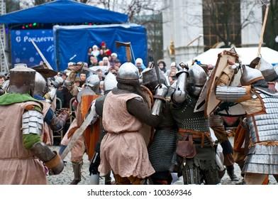 KALININGRAD - JANUARY 8: historical reconstruction knightly battle, Battle of Lake Peipus, January 8, 2012 in Kaliningrad, Russia
