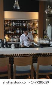 KALININGRAD - MARCH 9, 2019: Employee at the hotel bar