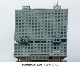 Kaliningrad, Kaliningrad Oblast / Russia - 12 22 2019: House of Soviets, the iconic abandoned office building in the center of Kaliningrad